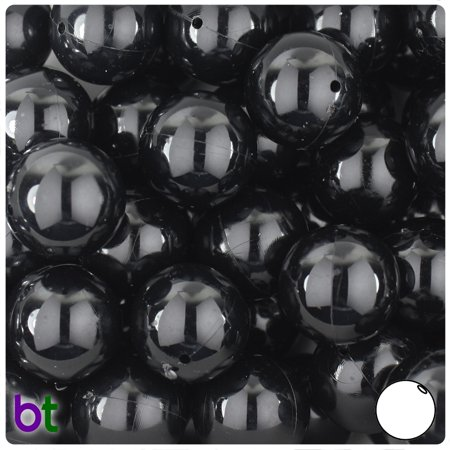 BeadTin Black Opaque 18mm Round Plastic Beads (10pcs)