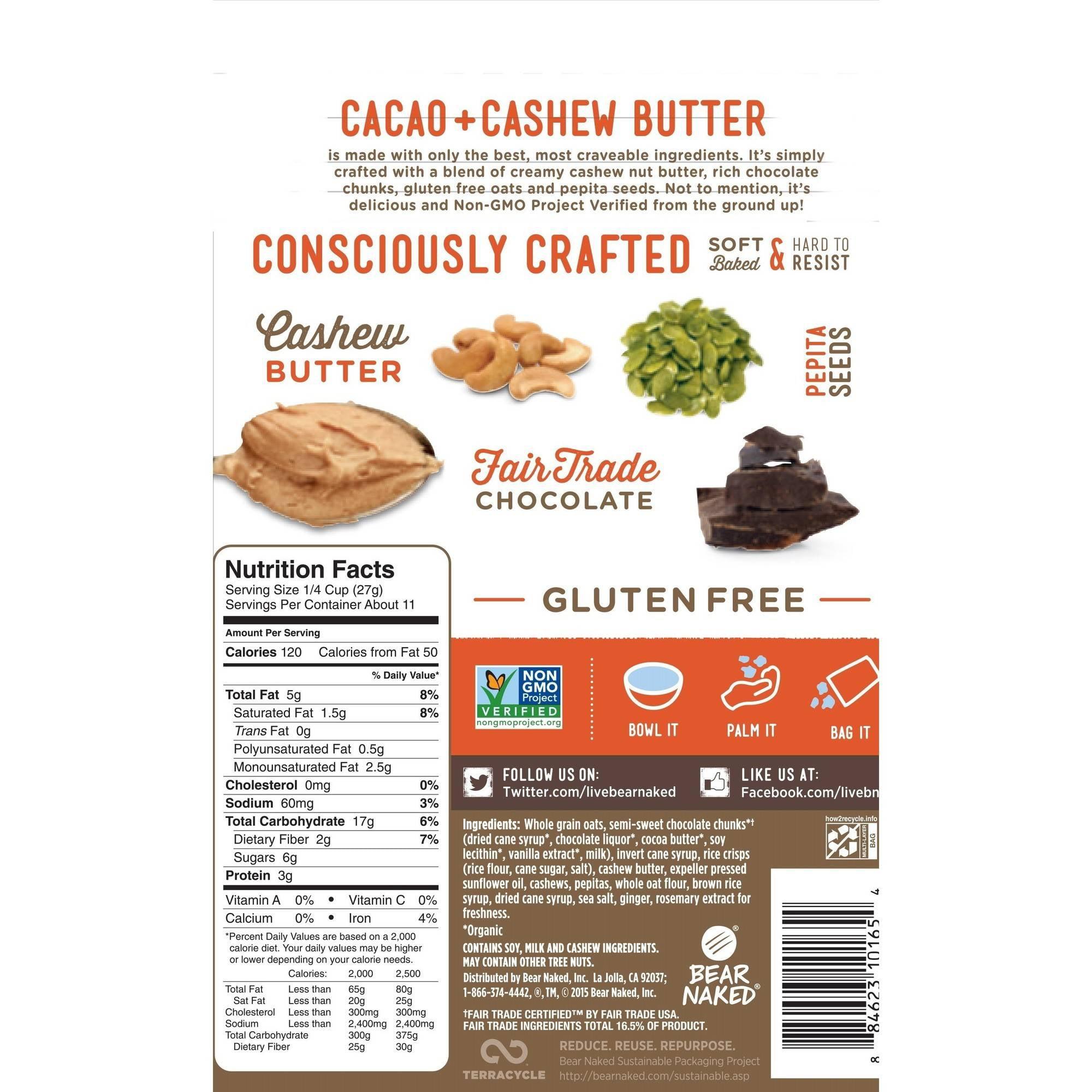 Bear Naked Gluten Free Granola, Cacao & Cashew Butter, 11 Oz ...