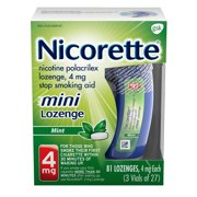 Nicorette Mini Nicotine Lozenges to Stop Smoking, 4mg, Mint Flavor - 81 Count
