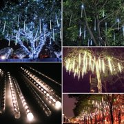 LED Meteor Shower Lights, Garden Outdoor 12 Inch 8 Tube 144 Leds Falling Rain Drop Icicle Snow Fall String LED Waterproof Lights for Holiday Xmas Tree Valentine Wedding Party Decoration