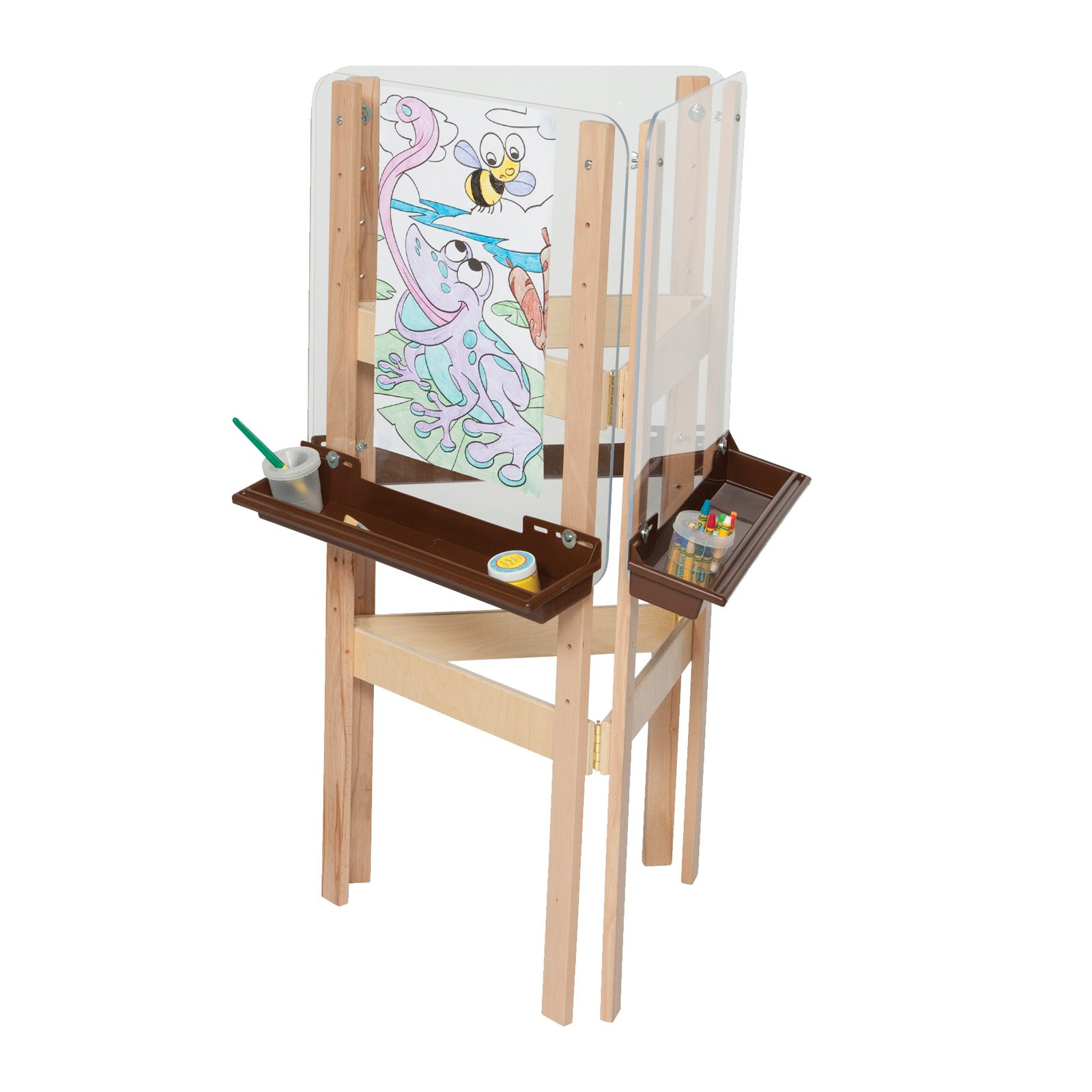 Wood Designs 3 Way Easel with Acrylic and Brown Trays