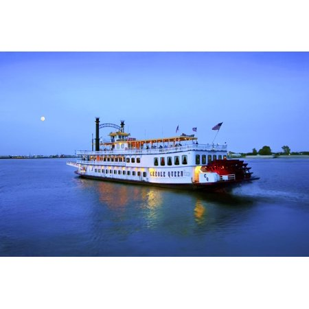 Louisiana, New Orleans, Creole Queen Steamboat, Mississippi River Print Wall Art By John (Creole Queen Boat)