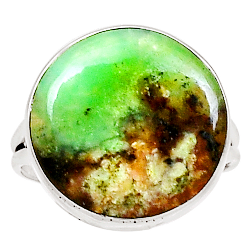 XTREMEGEMS Boulder Chrysoprase 925 Sterling Silver Ring Jewelry s.9 10321R by