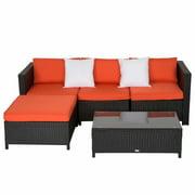 Kinbor 5Pcs Outdoor Patio Furniture PE Wicker Rattan Sofa Sectional Set