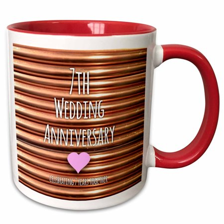 3dRose 7th Wedding Anniversary gift - Copper celebrating 7 years together - seventh anniversaries seven - Two Tone Red Mug, 11-ounce