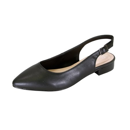 - PEERAGE Macy Women Wide Width Pointed Toe Leather Dress Slingback Flat with Leather Stack Heel BLACK 10.5