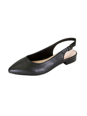05fc6630ee4 Product Image PEERAGE Macy Women Wide Width Pointed Toe Leather Dress  Slingback Flat with Leather Stack Heel BLACK