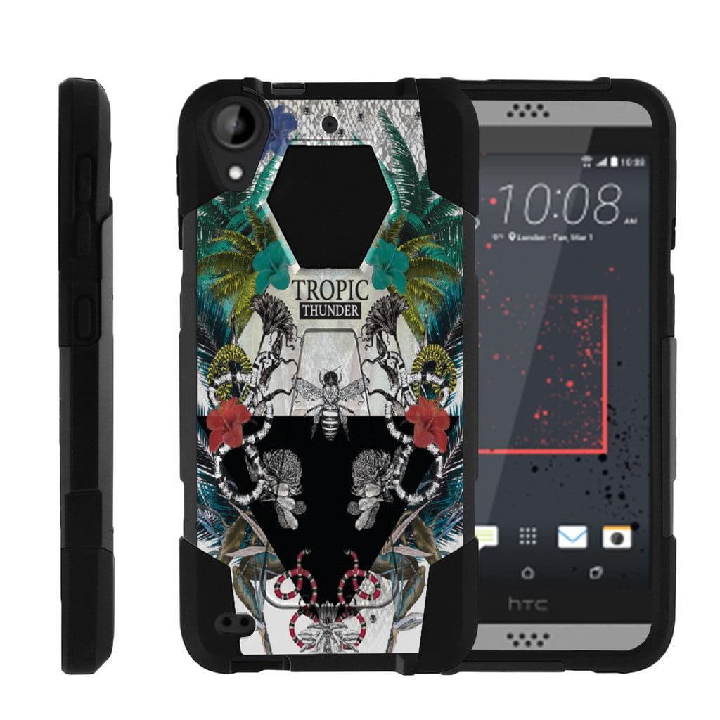 HTC Desire 530   Desire 630 Shock Fusion Heavy Duty Dual Layer Kickstand Case -  Exotic Tropic Thunder
