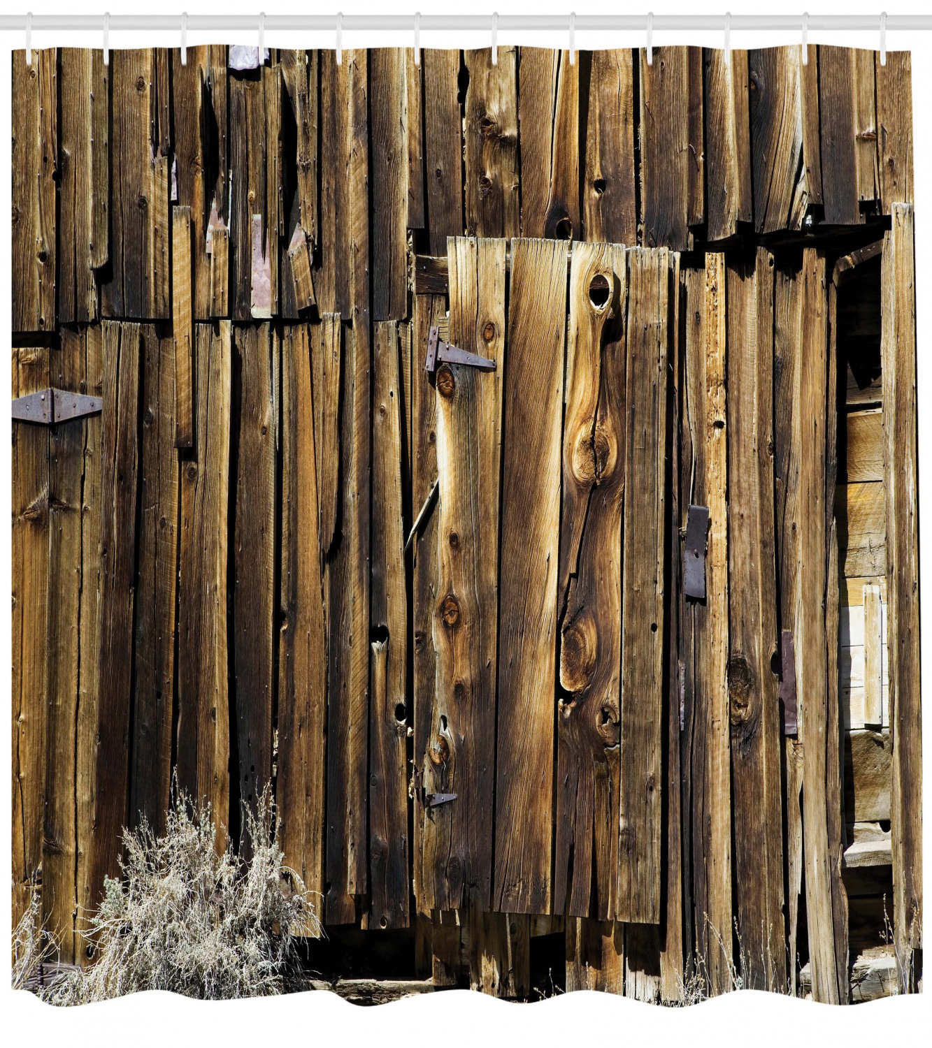Rustic Shower Curtain Oak Barn Siding Door Cracked Rusted Hinges Dated Timber Mansion Farmland Nobody Design Fabric Bathroom Set With Hooks Brown