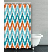 BPBOP Orange Aqua Blue Chevron Pattern Design Bathroom Shower Curtain 36x72 inches