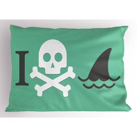 - Shark Pillow Sham Shark Love Themed Creepy Dead Skull Head with Cross Bones and Sharks Fun Danger Icon, Decorative Standard Queen Size Printed Pillowcase, 30 X 20 Inches, Green White, by Ambesonne