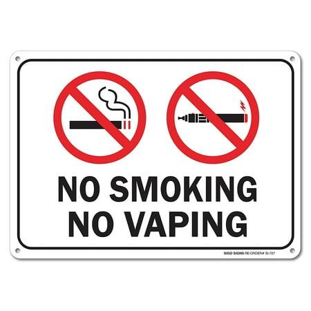 No Smoking No Vaping Sign, Large 10 X 7