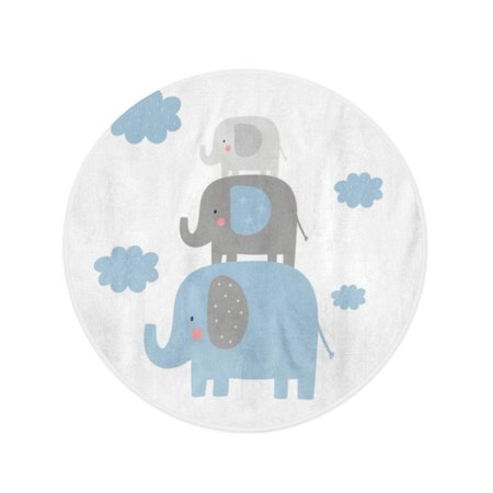 NUDECOR 60 inch Round Beach Towel Blanket Birthday Cute for Baby Elephant Graphic Doodle Boy Adorable Travel Circle Circular Towels Mat Tapestry Beach Throw - image 2 of 2