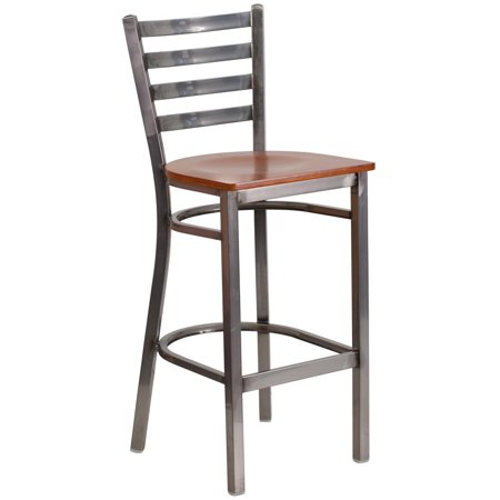 Clear Coated Ladder Back Metal Restaurant Barstool - Cherry Wood Seat