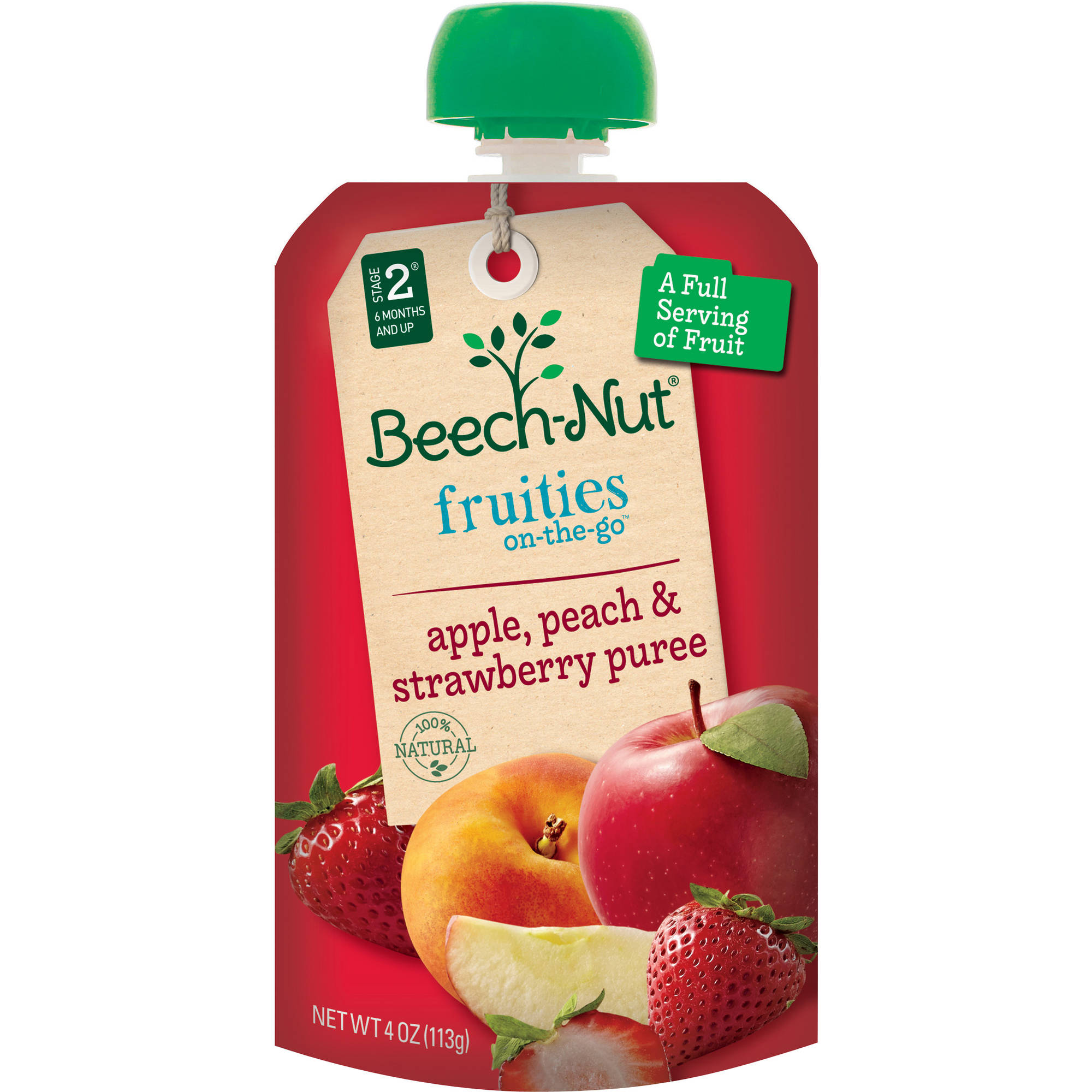 Beech-Nut Pouch Stage 2 Fruities On-the-Go Apple, Peach & Strawberry Pur?e, 4 oz, (Pack of 16)