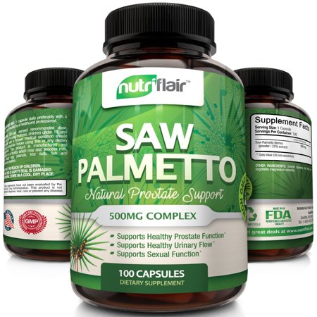 NutriFlair Premium Saw Palmetto Berry Extract 500mg, Natural Prostate and Urinary Health Support - Helps Reduce Frequent Urination and Blocks DHT to Prevent Hair Loss, 100