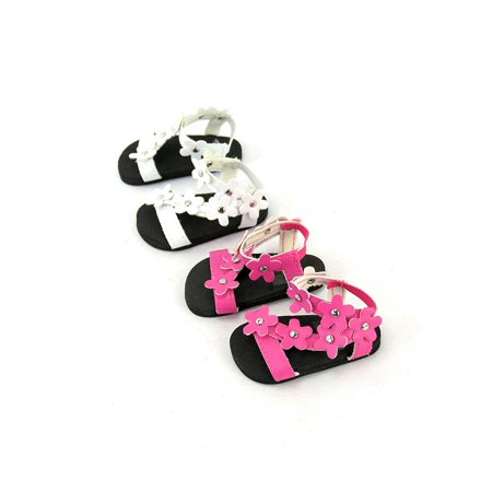 2 pack of flower power sandals: pink and white| Fits 18