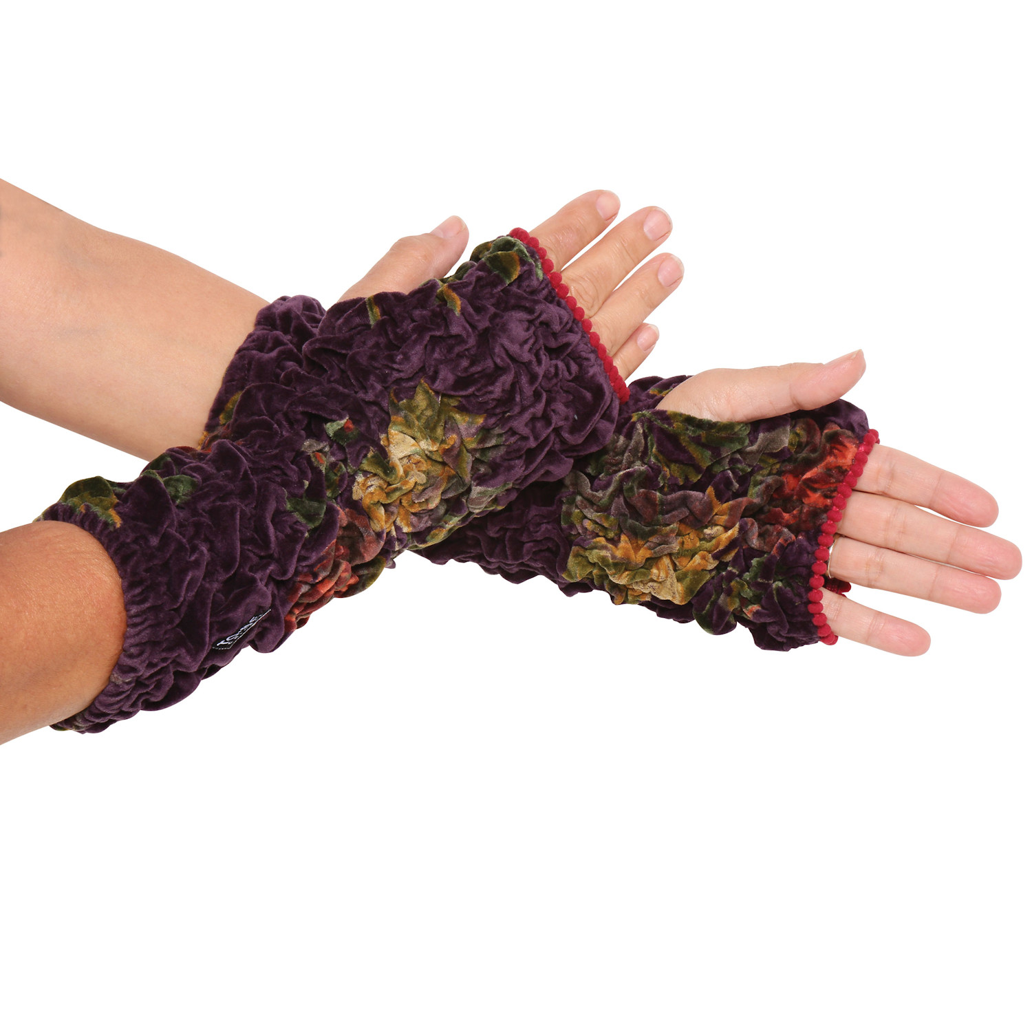 Women's Velvet Cuffs - Lush Ruched Wrist Warmers - Fingerless Gloves