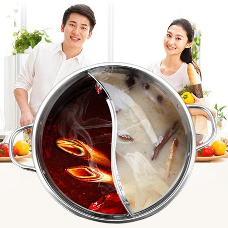 Fancyy 30CM Easy Clean Stainless Steel Hot Pot Shabu Dual Site Induction Cooking Pot silver - image 3 of 9