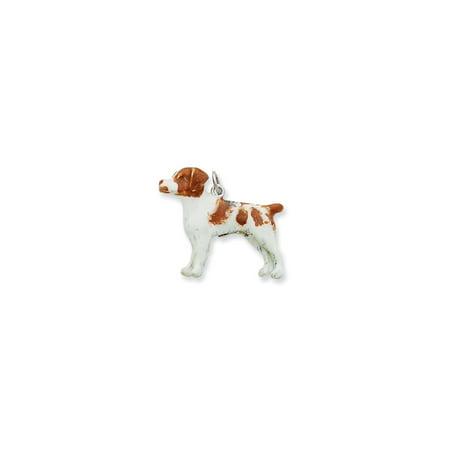 925 Sterling Silver Enamel Brittany Spaniel Dog Charm Pendant - 24mm (Spaniel Dog Photo Charm)
