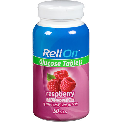 ReliOn(tm) Raspberry Glucose Tablets, 50 count