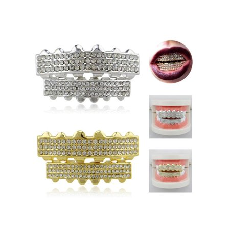 Moaere 18K Gold Plated Mouth Teeth Grills & Bottom Teeth Caps Grillz Set with 3 Row Diamond Teeth Caps Bling