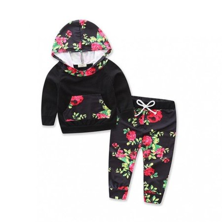 Flower Girl Clothes (Fashion Winter Baby Boy Girl Flower Outfit Clothes Shirt Long Sleeve Cotton Tops+Pants)