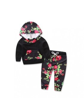 Fashion Winter Baby Boy Girl Flower Outfit Clothes Shirt Long Sleeve Cotton Tops+Pants Set