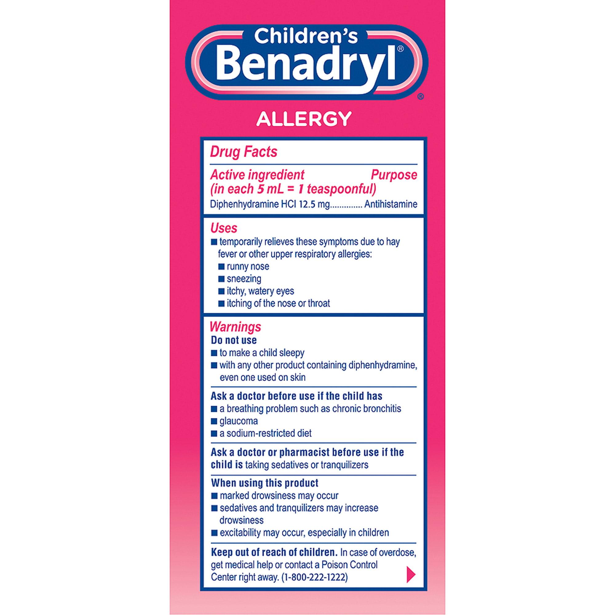 12.5mg benadryl 2 year old