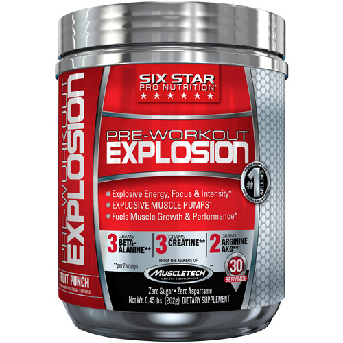 Six Star Pro Nutrition Fruit Punch Pre-Workout Explosion Dietary Supplement, 0.45 lb