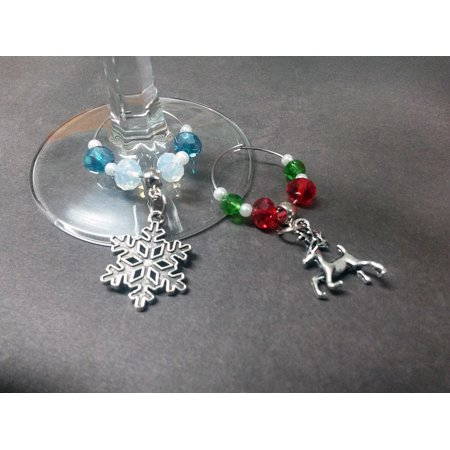 Reindeer Snowflake Christmas Theme Set of 2 Wine Drink Marker Charms Glass and Silver WG13](Snowflake Glass)