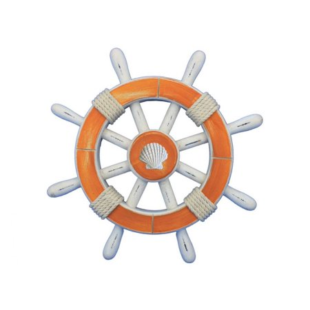 Rustic Orange And White Decorative Ship Wheel With Seashell 12