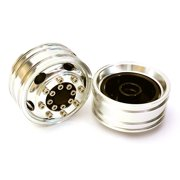 Integy RC Toy Model Hop-ups C27648SILVER Billet Machined Alloy T8 Front Wheel Set for Tamiya 1/14 Scale Tractor Trucks