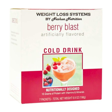 Weight Loss Systems Fruit Drink - Berry Blast - 7/Box - 15g Protein - Low Calorie - Low Fat Berry Blast Fruit