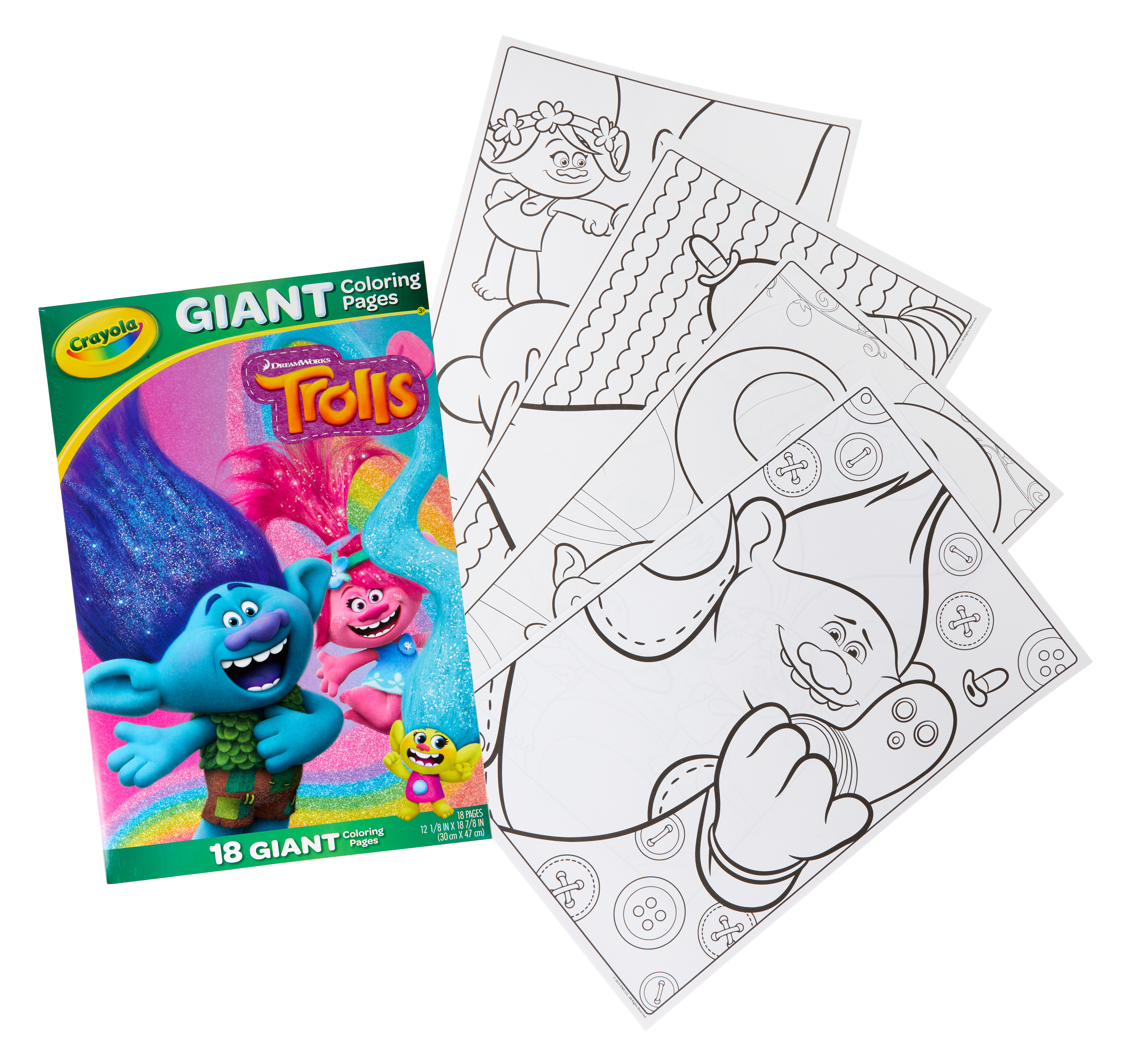 Crayola Trolls Giant Coloring Pages, Trolls Gift for Kids, 18 Pages, Child