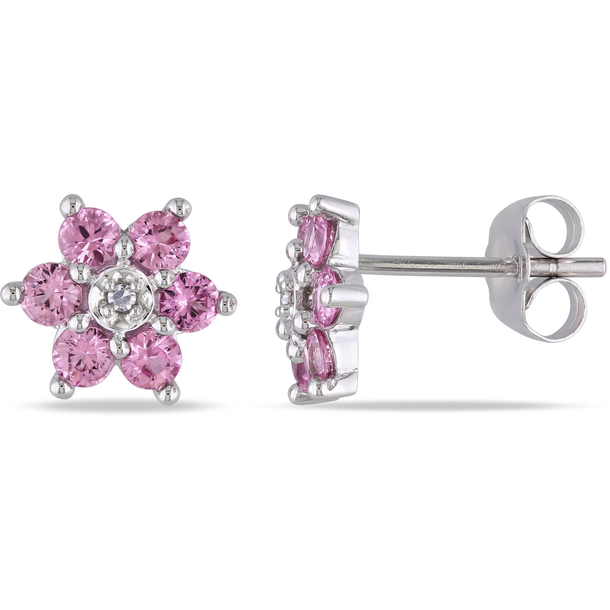 1 Carat T.G.W. Pink Sapphire and Diamond Accent 10kt White Gold Flower Stud Earrings by Delmar Manufacturing LLC
