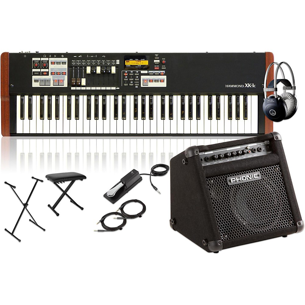 Hammond XK-1c Portable Organ with Keyboard Amplifier, Stand, Headphones, Bench and Sustain... by Hammond