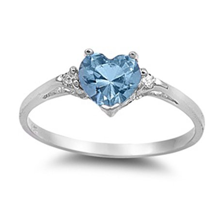 Sterling Silver Women's Flawless Simulated Aquamarine Cubic Zirconia Solitaire Heart Ring (Sizes 3-12) (Ring Size 10)