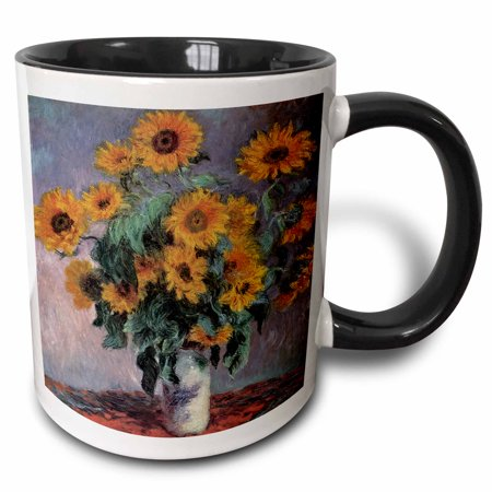 3dRose Sunflowers by Claude Monet Impressionist Still Life - Two Tone Black Mug, 11-ounce - Italian Still Life