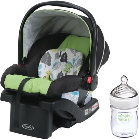 Graco SnugRide 30 Click Connect Infant Car Seat with Front Adjust, Choose Your Pattern with Nuk Simply Natural 5oz Bottle, 1-Pack