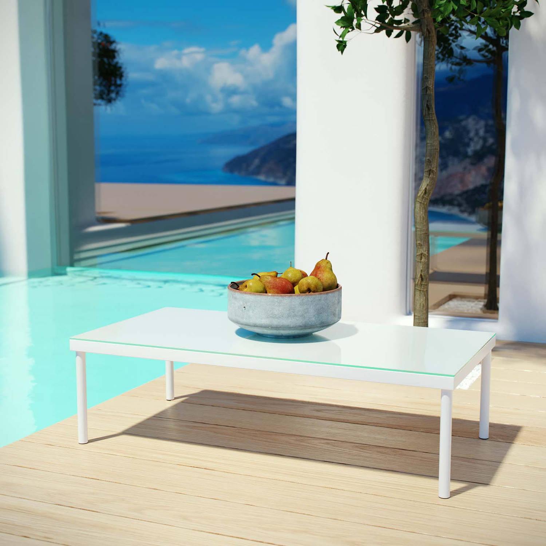 Modway Harmony Outdoor Patio Aluminum Coffee Table, White ...
