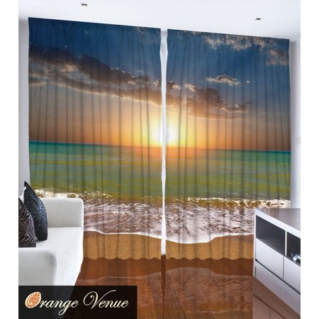 Palm Trees Sunset Ocean Nautical Theme Pictures Living Room Curtain 2 Panels Set ()