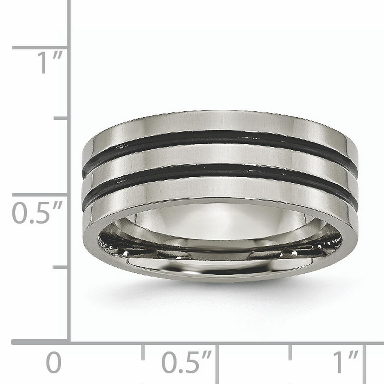 Titanium Enameled Grooved Flat 8mm Wedding Ring Band Size 10.00 Fashion Jewelry Gifts For Women For Her - image 3 of 6