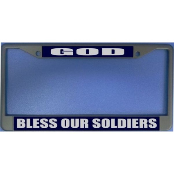 God Bless Our Soldiers Photo License Plate Frame  Free Screw Caps with this Frame