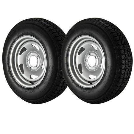 - 2 Pack - ST205/75D14 Loadstar Trailer Tire LRC on 5 Bolt Silver Blade Wheel