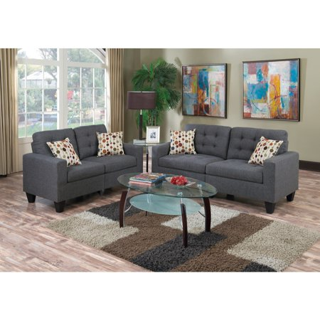 Linen Fabric 2 Pieces Sofa Set In Gray ()