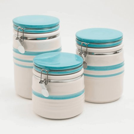 Kitchen Ceramic Canister Set - 3 pcs Cookie Storage Jar - Canisters Set (Cookie Jars Set)