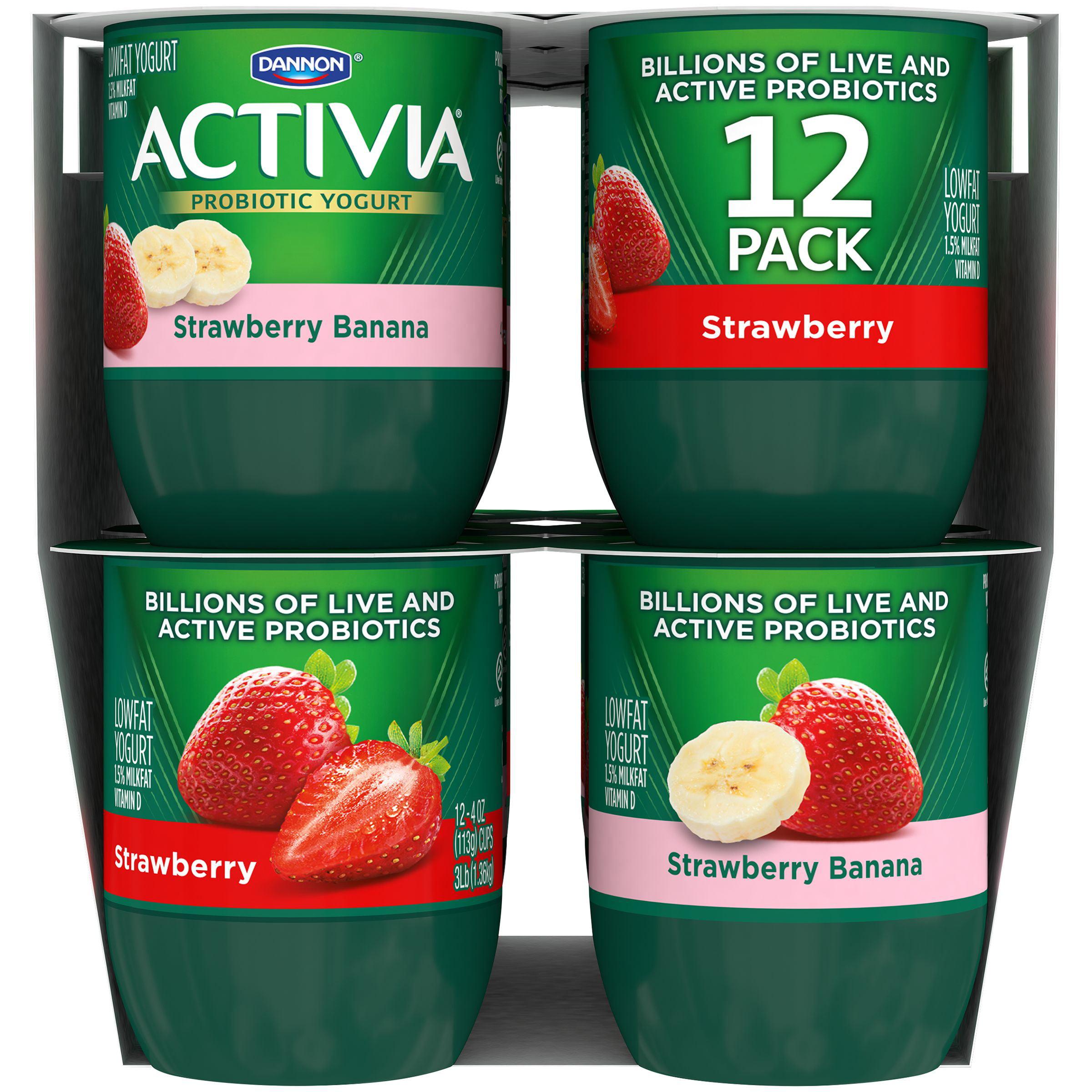 Activia Lowfat Strawberry/Strawberry Banana Probiotic Yogurt, 4 oz, 12 count - Walmart.com