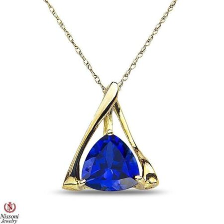Womens 10k Gold Pendant - Womens Created Sapphire Necklace Pendant and chain in 10K Yellow Gold For Women