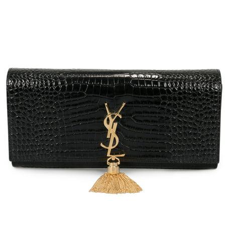 - Saint Laurent Kate Tassel Clutch in Embossed Crocodile Shiny Leather